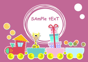 children train illustration with giraffe and gift