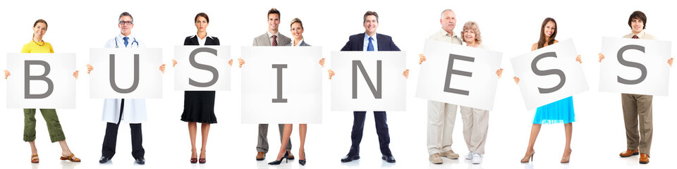 Business people group with banner.