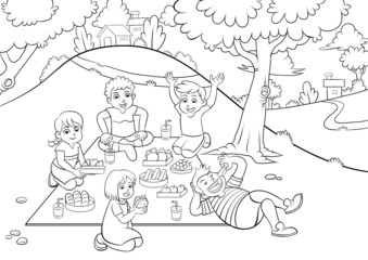 picnic  for colouring.