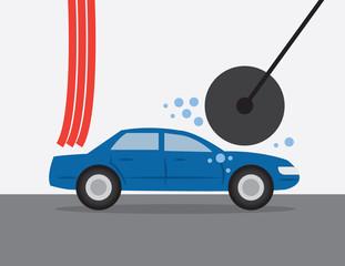 Car going through an automatic car wash