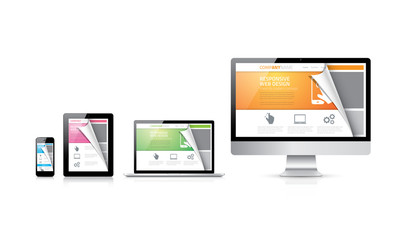 Css, html, php responsive web design concept vector