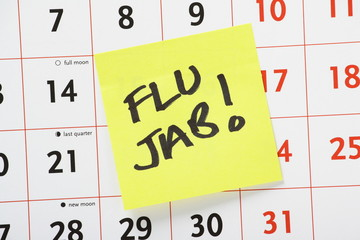 Flu Jab Reminder on a wall calendar