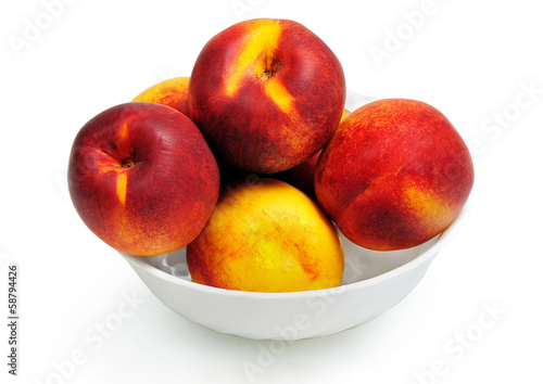 Isolated bowl with nectarine