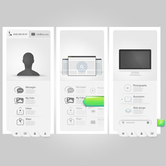 Webste template Ui elements:Personal Vcard portfolio with icons