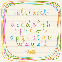 Cute doodle alphabet and frame