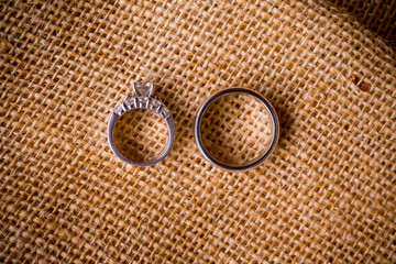 Wedding Rings and Burlap Sack