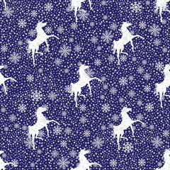 Vector winter snowy and a horse  seamless pattern