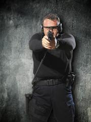 Man shooting gun