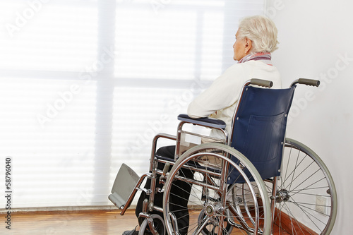 Lonely senior woman in wheelchair