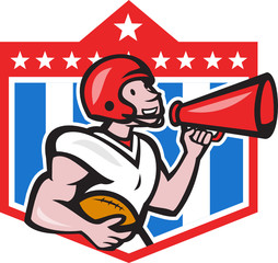 American Football Quarterback Bullhorn Cartoon