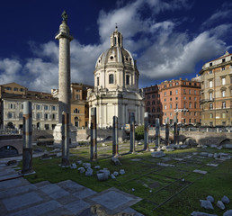 Italy, Rome, Roman Forum, view of the Trajan Column