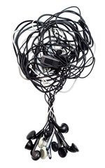 Heap of old earphones