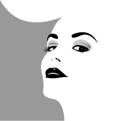 Retro woman face in pop art style