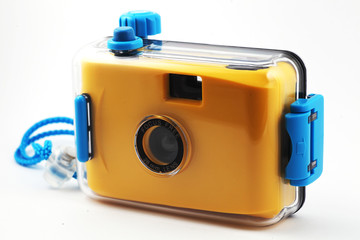 yellow camera in waterproof box