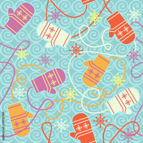 Seamless pattern with mittens and snowflakes