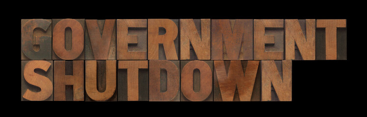 government shutdown in old wood type
