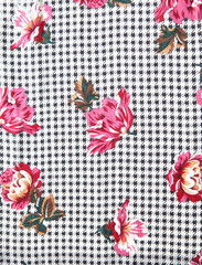 houndstooth floral fabric from 70s