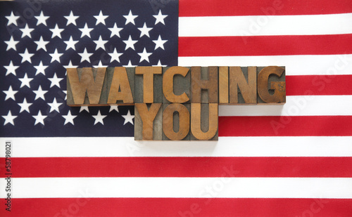 watching you in wood type on flag