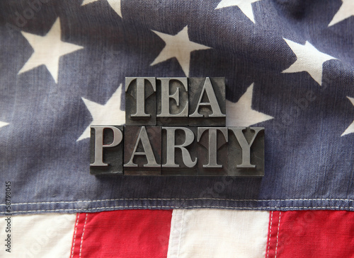tea party in metal type on American flag