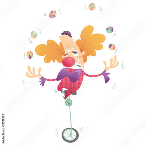 Cartoon sad clown juggling and crying in one wheel bike