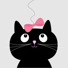 Cute cartoon black cat. Card