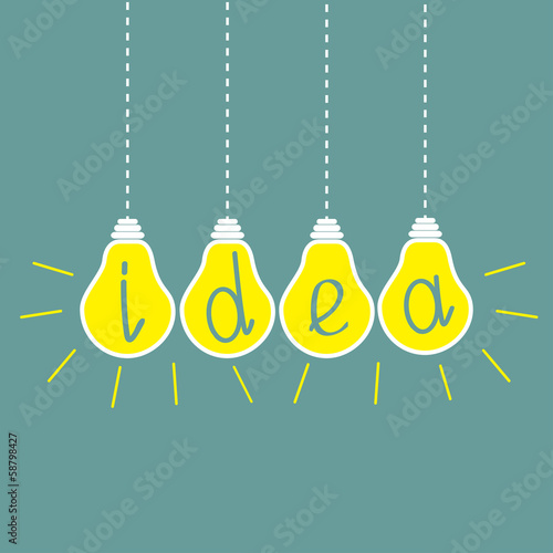 Four hanging yellow light bulbs. Idea concept. - 58798427