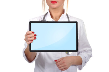 doctor with touch pad