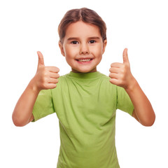 baby girl raised her thumbs up smiling symbol indicates yes isol