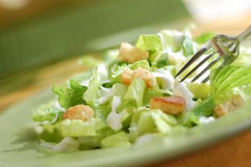 Fresh Caesar salad ready to eat.