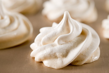 Closeup of meringue cookies.