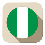Nigeria Flag Button Icon Modern
