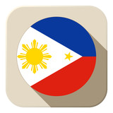 Philippines Flag Button Icon Modern