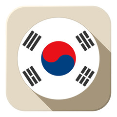 South Korea Flag Button Icon Modern