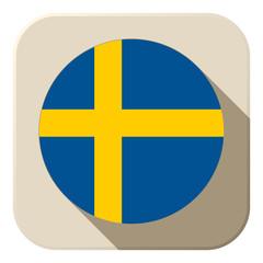 Sweden Flag Button Icon Modern