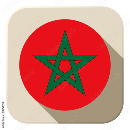Morocco Flag Button Icon Modern