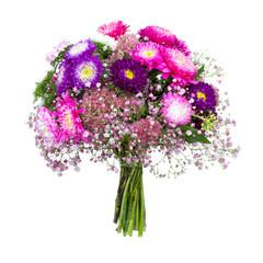 Blumenstrauß vor weißem Hintergrund
