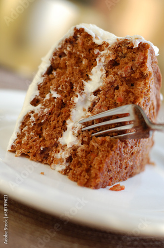 Piece of carrot cake ready to eat.