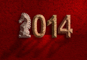2014 Chinese Horse 3D Chisel Stone on Red Background