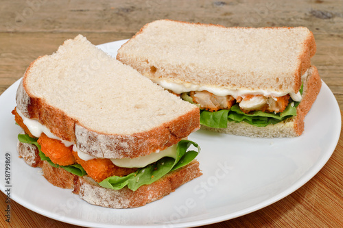 Fish Finger Sandwich on a plate