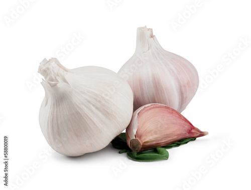 Garlic Bulbs and Cloves on white