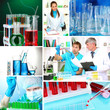 Collage of scientists and laboratory experiments