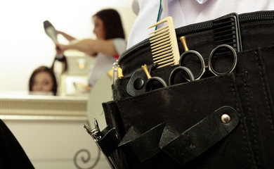 Professional tools accessories hairdresser in hair salon