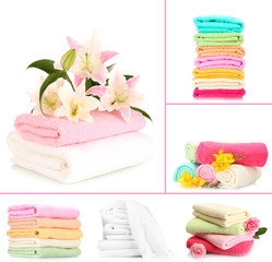 Collage of colorful towels isolated on white