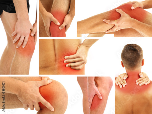 Collage representing man having pain at several part of body