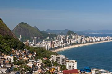 Aerial view of Ipanema beach from Vidigal in Rio de Janeiro