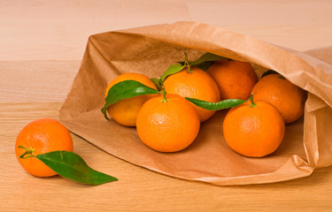 mandarines in paper bag