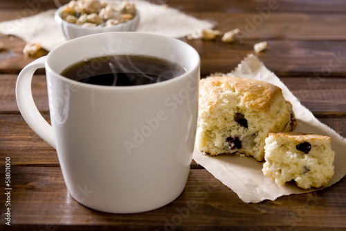 Hot coffee and pastry breakfast.