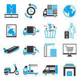 shipping icon set, blue theme