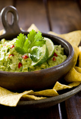 Closeup of a bowl of fresh guacamole.