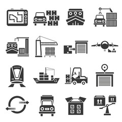 shipping icon set, transportation icons